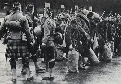 "September 1914: While they wait for their appointment with destiny, the Officers, NCOs and Men of ""C"" Company, Liverpool Scottish Regiment show us the correct way to wear the Glengarry Bonnet."
