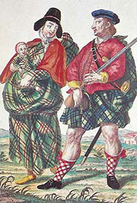 "A Highland Soldier with his wife and child, By Martin Englebrecht. Judging from the wife's hat, this man is presumably serving in one of the armies in the ""Low Countries""."
