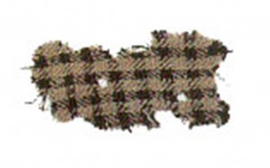 The Falkirk Tartan; this fragment of cloth was discovered in the Falkirk Moss and is the oldest known piece of 'tartan' in the UK.